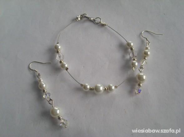 Biała bransoletka kolczyki perły Swarovski