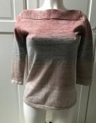 Sweter dzianinowy w paski delikatny ze złotą nitką...
