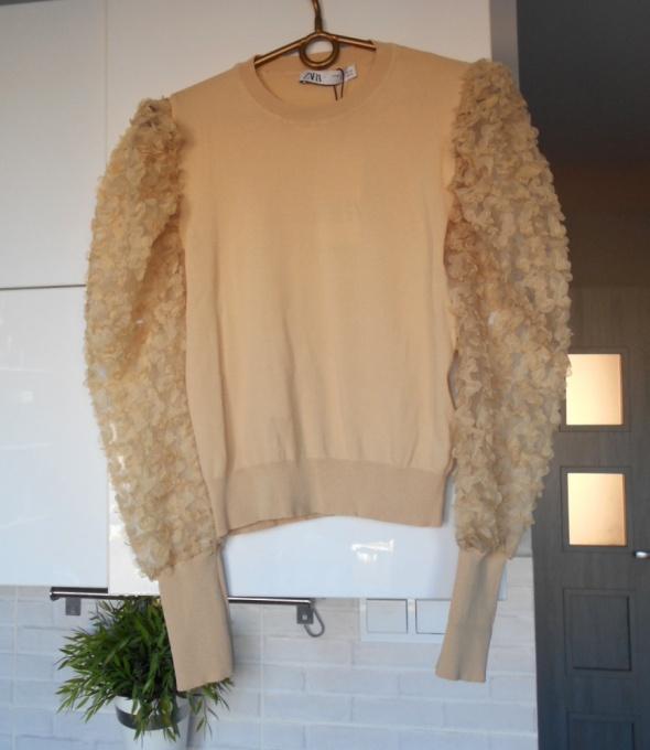 Zara nowy sweter z rękawami z organzy 3D przezroczyste nude beżowy