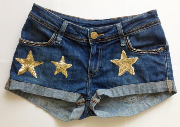 Spodenki Jeansowe szorty dżinsowe gwiazdki cekiny koraliki XS S 34 36 unikatowe Ventana jeans