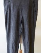 Spodnie H&M Eleganckie Szare Kratka 36 S Eko Skóra...
