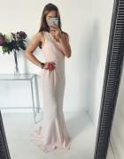 Sukienka maxi kombinowane plecy pudrowy róż...
