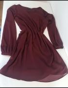 sukienka trapezowa burgundowa