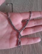 Elegancki srebrny naszyjnik z markazytami srebro 925...