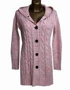 Ciepły Długi Różowy Sweter z Kapturem 42 XL