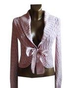 Ciepły Różowy Sweter Bolerko Kokarda L XL