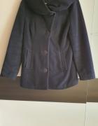 Granatowy ciepły wełniany płaszcz Safari S...