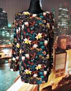 h&m bluzka długa modny wzór kwiaty floral hit casual 36 38...