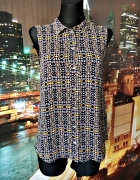 h&m bluzka asymetryczna modny wzór casual 36 S