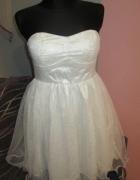 Biala sukienka studniówkowa weselna 38...