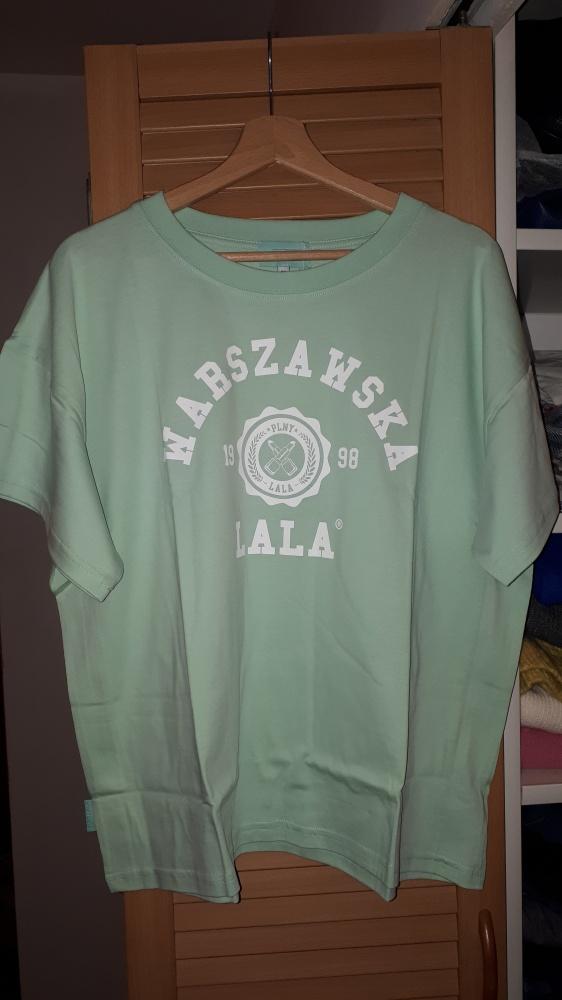 Nowa koszulka Plny Lala Warszawska LALA Boyfriend Pistachio