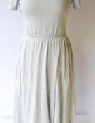 Sukienka Szara H&M M 38 Rozkloszowana Rozporek Long...