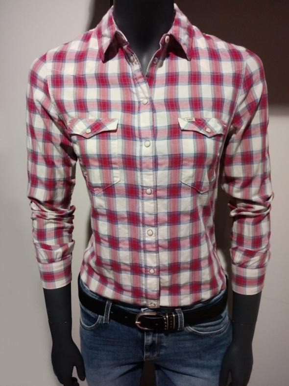 Koszula w kratę XS LEE Różowo biała