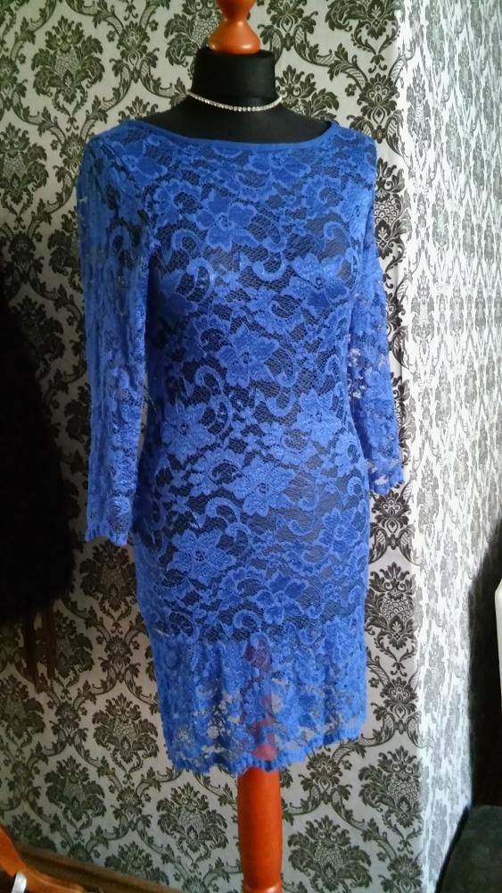 Kobaltowa Sukienka z koronki 38...