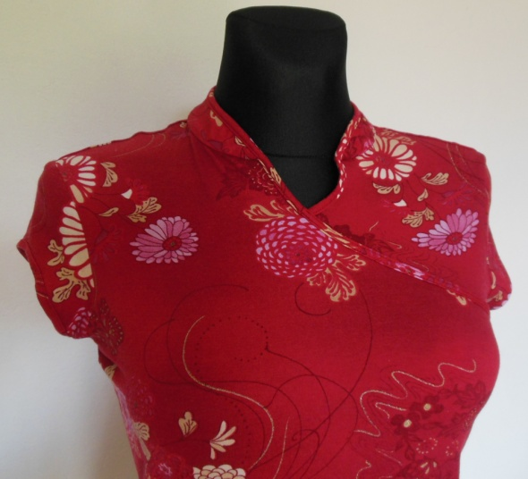 NEXT czerwona bluzka japan style 40 kwiaty wiskoza