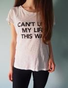 Biała koszulka z napisem H&M Basic 36 S 38 M luźna...