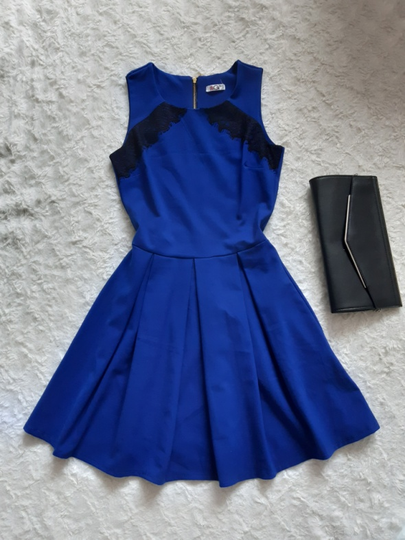 Sukienka impreza urodziny wesele chabrowa kobaltowa