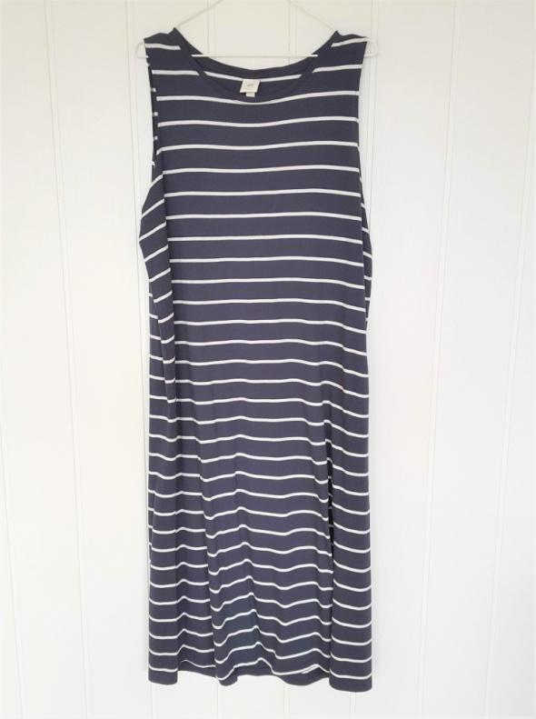Letnia sukienka H&M maxi długa XL 42 sportowa prosta paski biał...