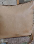 Amerykańska torebka ze skóry naturalnej w kolorze ciepłego beżu...