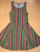 piękna rozkloszowana letnia sukienka aztec H&m...