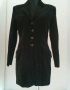 Czarny płaszcz welur S M...