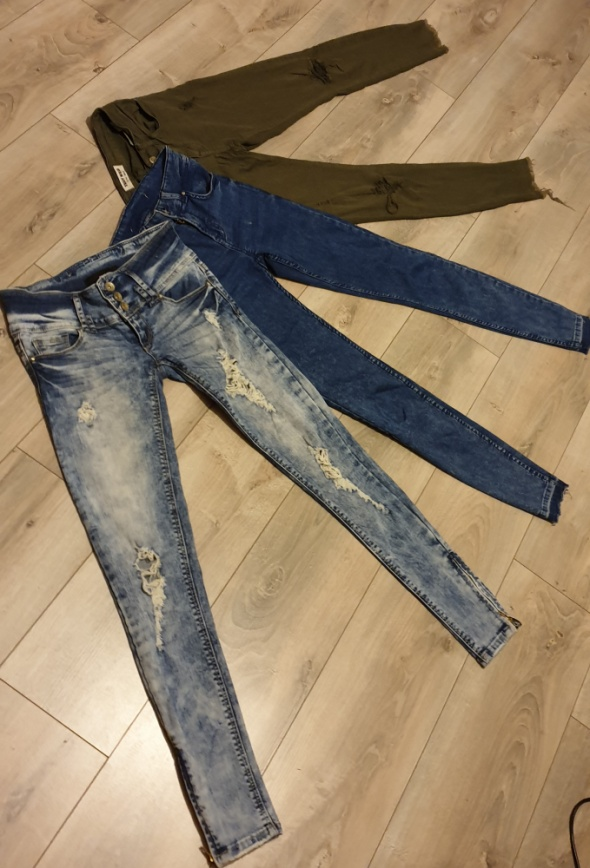 Spodnie PAKA 34 XS spodnie Bershka Telly Weijl jeansowe przecierane