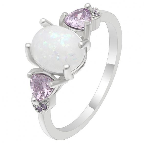 Nowy pierścionek srebrny kolor białe oczko fooletowe cyrkonie