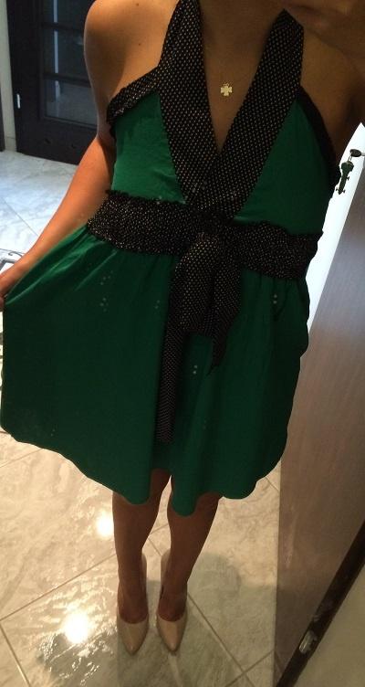Suknie i sukienki Zielona Sukienka Z Kokardką S 36 XS 34 JAPAN STYLE