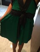 Zielona Sukienka Z Kokardką S 36 XS 34 JAPAN STYLE...