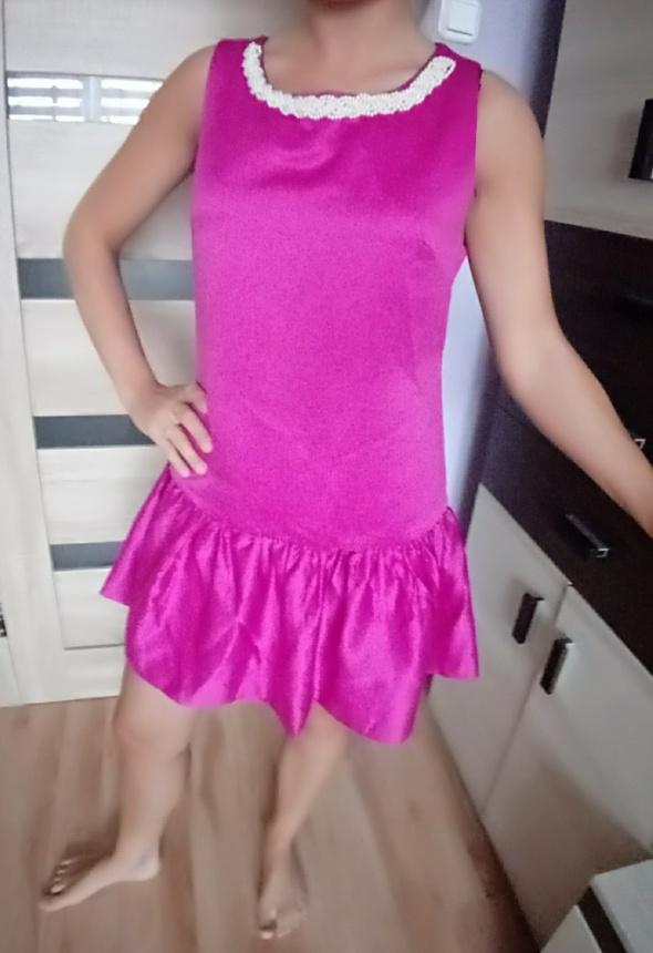 Suknie i sukienki Rozowa satynowa sukienka wizytowa L