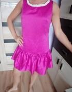 Rozowa satynowa sukienka wizytowa L...