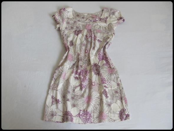 Letnia lekka sukienka 38 M biała w fioletowe kwiaty bawełna...