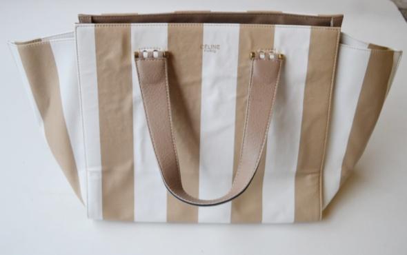 Torba Torebka Celine Paris Paski Biała Beżowa Shopper Bag...