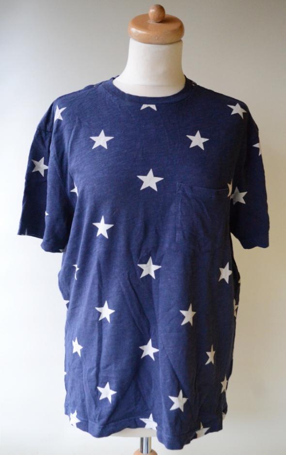 Koszulki i t-shirty Bluzka T Shirt H&M Divided M 38 Granat Gwiazdki Koszulka