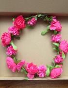 Wianek do włosów kwiaty boho różowe różowy nowy romantyczny...