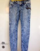 Fishbone 28 rurki skiny jeans marmurki z zamkiem XS S 34 36 now...