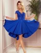 PATRICIA sukienka dłuższy tył koronkowy dekolt CHABROWA S M L X...