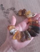 Surowy artystyczny szyjnik kolia z bursztynami 925