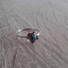 Kwiatek szarotka stary srebrny pierścionek z turkusowym oczkiem r 11