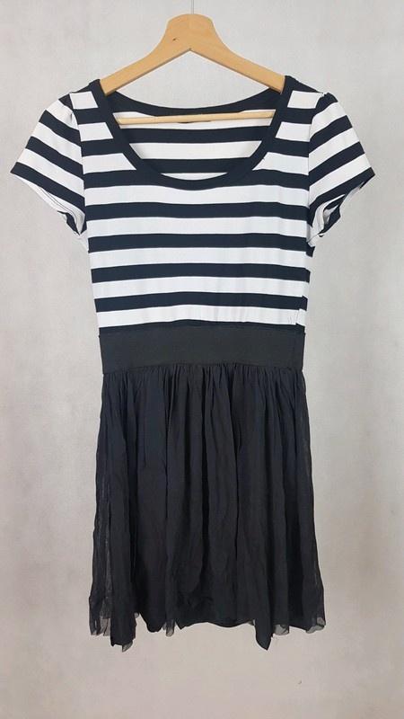 Sukienka w paski czarno białe L...
