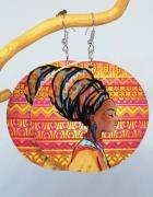 Kolczyki duże drewniane malowane koła africa vintage...