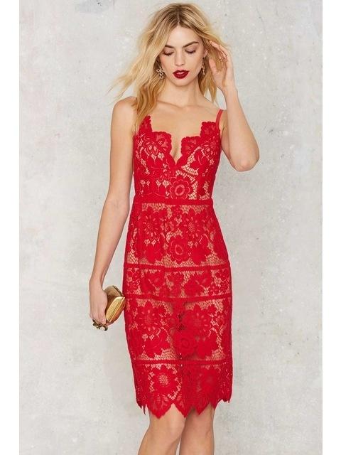 Suknie i sukienki oryginalna For Love & Lemons czerwona koronkowa vitkac zalando