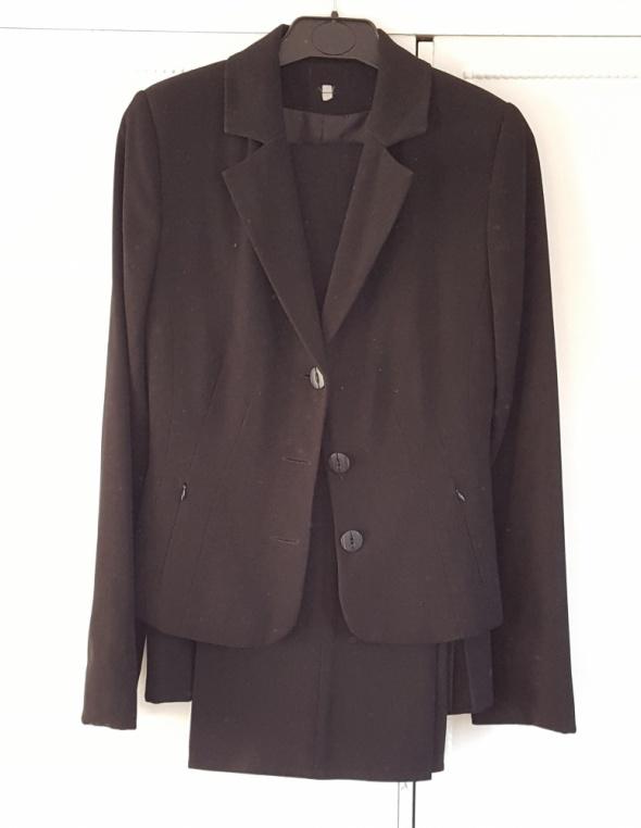 Czarny komplet żakiet garsonka garnitur 34 XS marynarka spódnica spodnie