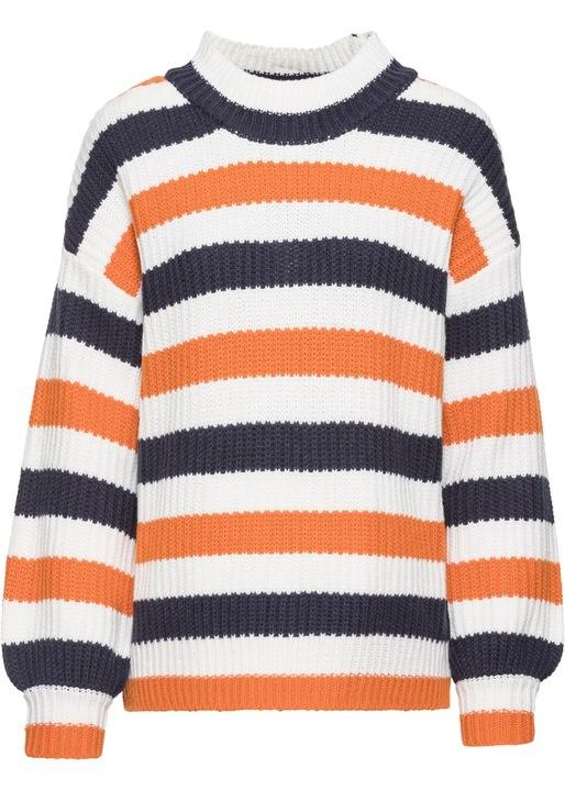 Swetry Dzianina sweter w paski rozmiar 48