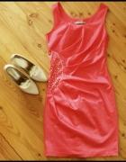 Koralowa sukienka S M