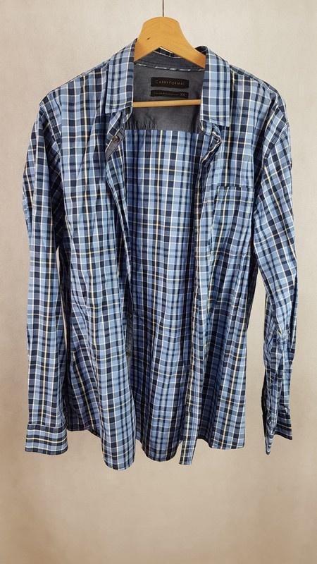 Męska koszula w kratę niebieska Carry Formal XXL