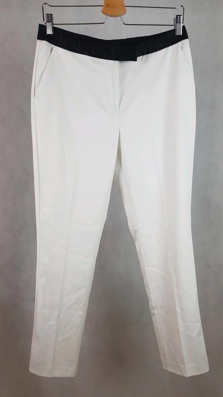 Eleganckie białe spodnie z czarnymi wstawkami materiałowe Next 10 38