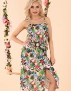 Urocza sukienka na ramiączkach kwiaty S M L XL...