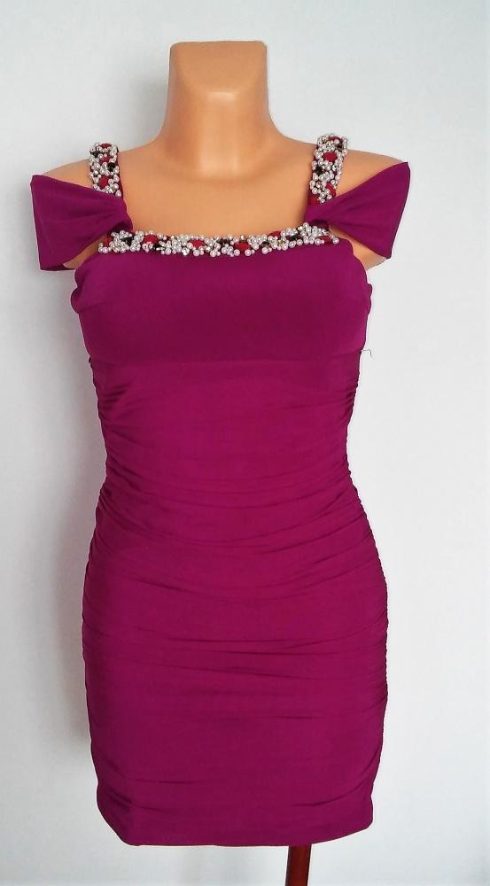 Fioletowa sukienka marszczona L pięknie zdobiona NOWA