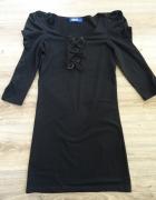 Czarna tunika sukienka z kokardkami